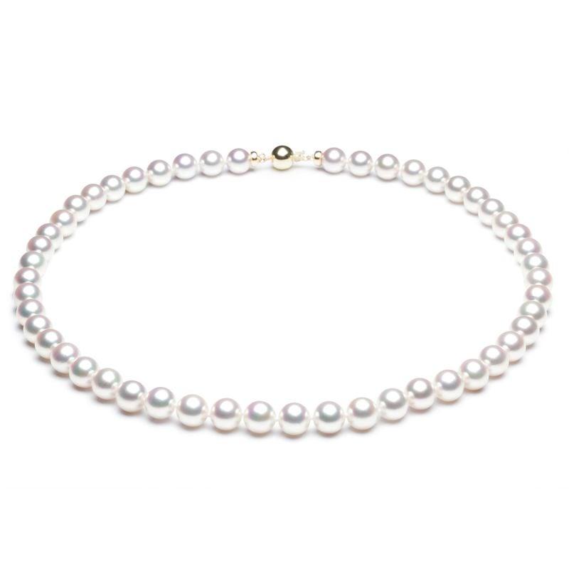 Collana di Perle Bianche Tango - Akoya Giappone - 7/7.5mm, AAA