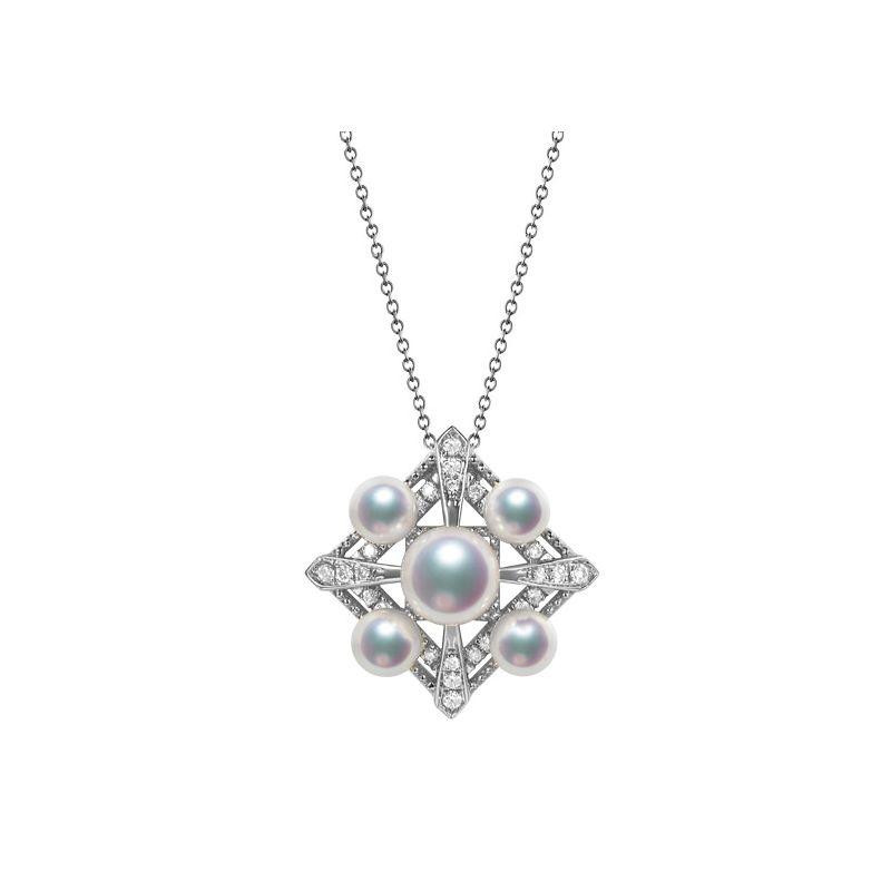 Pendentif Voyage stellaire I Perles Akoya Or blanc Diamants