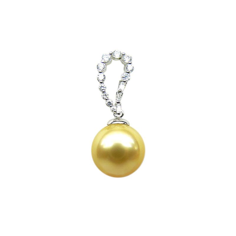 Pendentif goutte diamant - Perle d'Australie dorée - Or blanc
