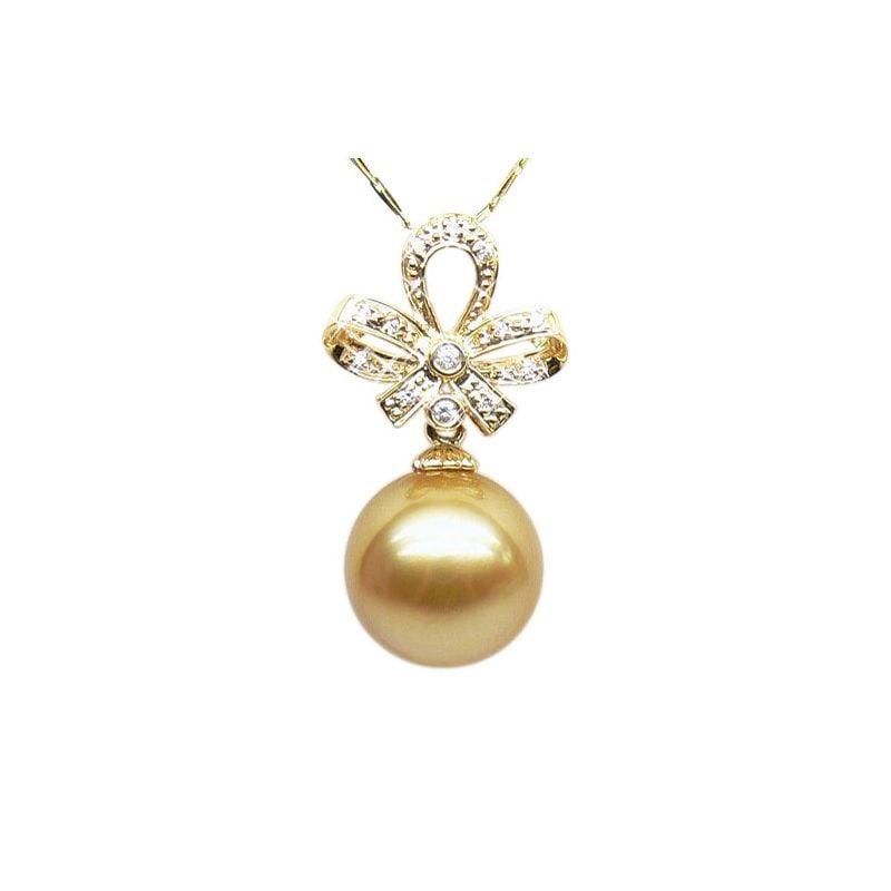 Ciondolo fiocco oro giallo - Perla d'Australia dorata - 12/13mm