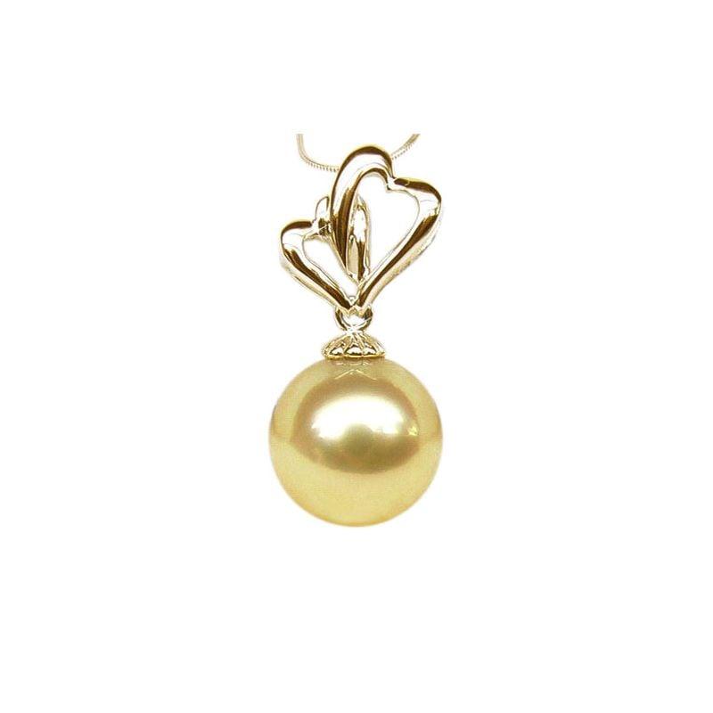 Pendentif 2 coeurs d'or jaune - Perle d'Australie dorée
