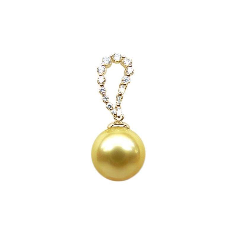 Pendentif goutte diamant - Perle d'Australie dorée - Or jaune