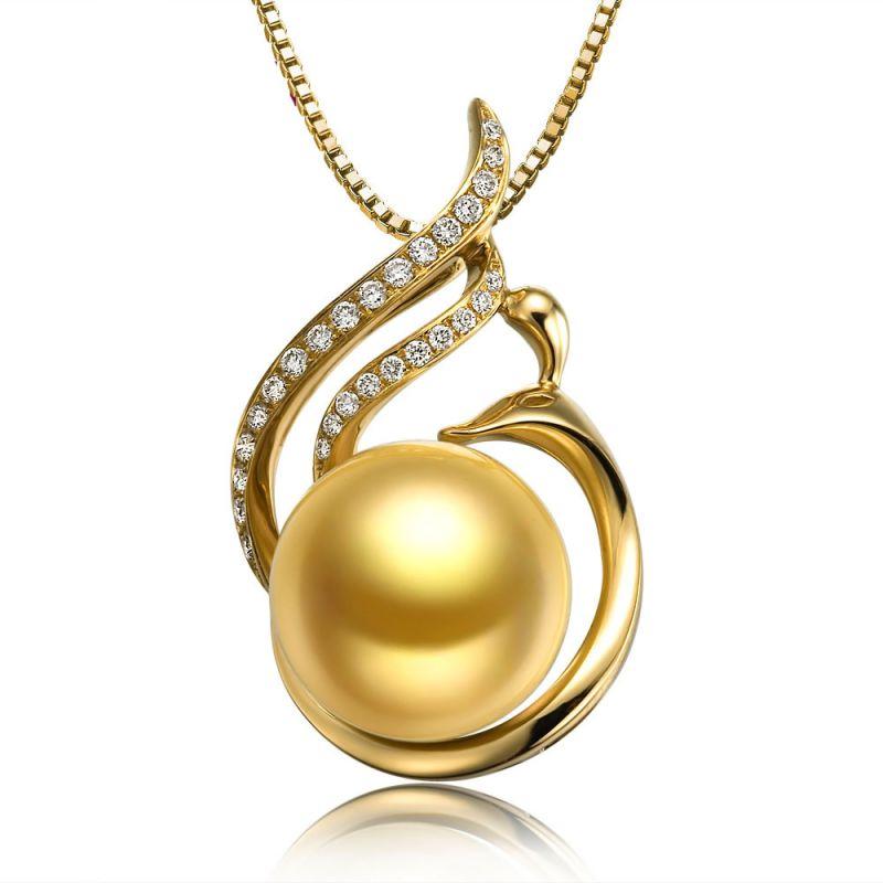 Ciondolo vegetale - Perla gold dei Mari del Sud - Oro giallo