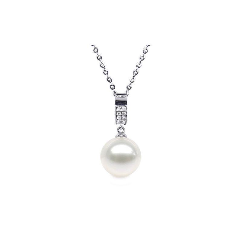 Pendentif moderne pavée de 8 diamants - Or blanc, perle douce blanche
