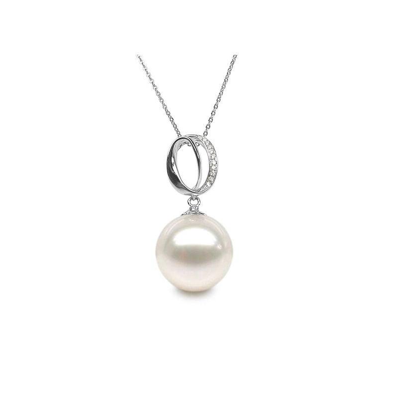 Pendentif O - Bandelette d'or blanc enroulée - Perle Chine, diamants