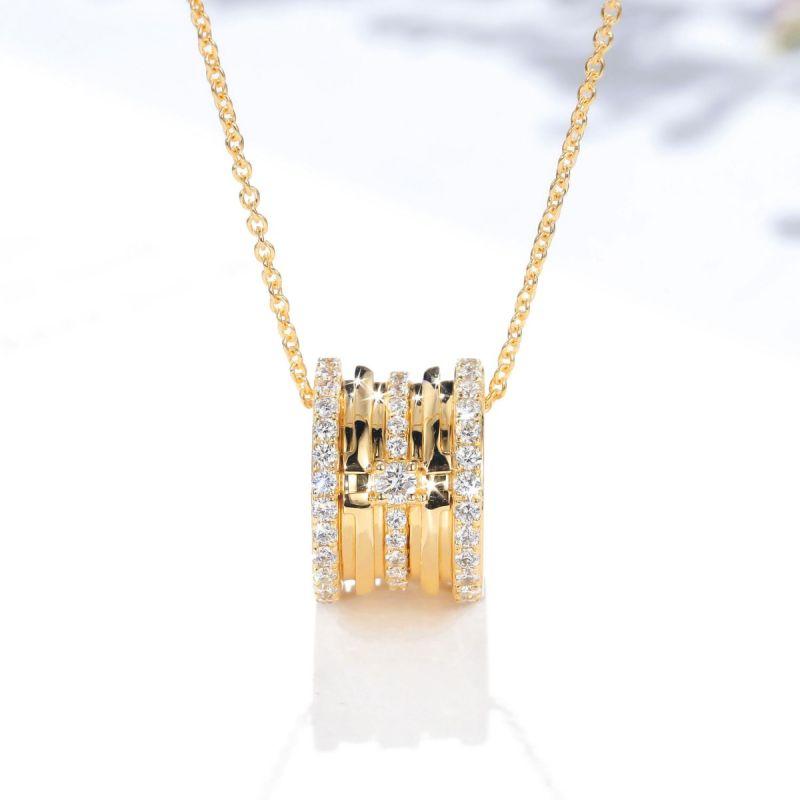 Pendentif mon Chou. Cylindre Or jaune et Diamants