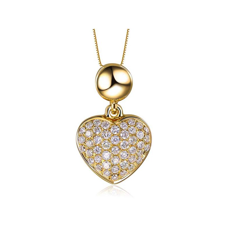 Pendentif coeur pavé de diamants - Or jaune et diamants 0.23ct