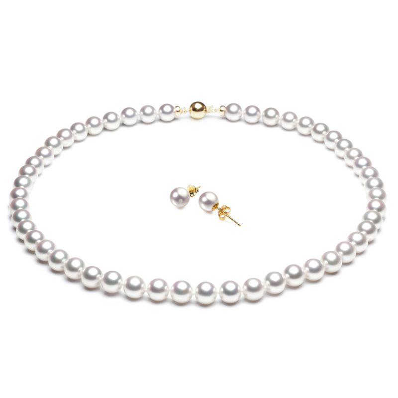 Parure perles culture Akoya - Collier et boucles oreilles - 7/7.5mm