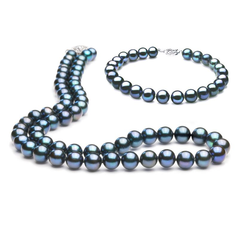 Parure - Bijoux collier et bracelet perles eau douce noires - 7.5/8mm
