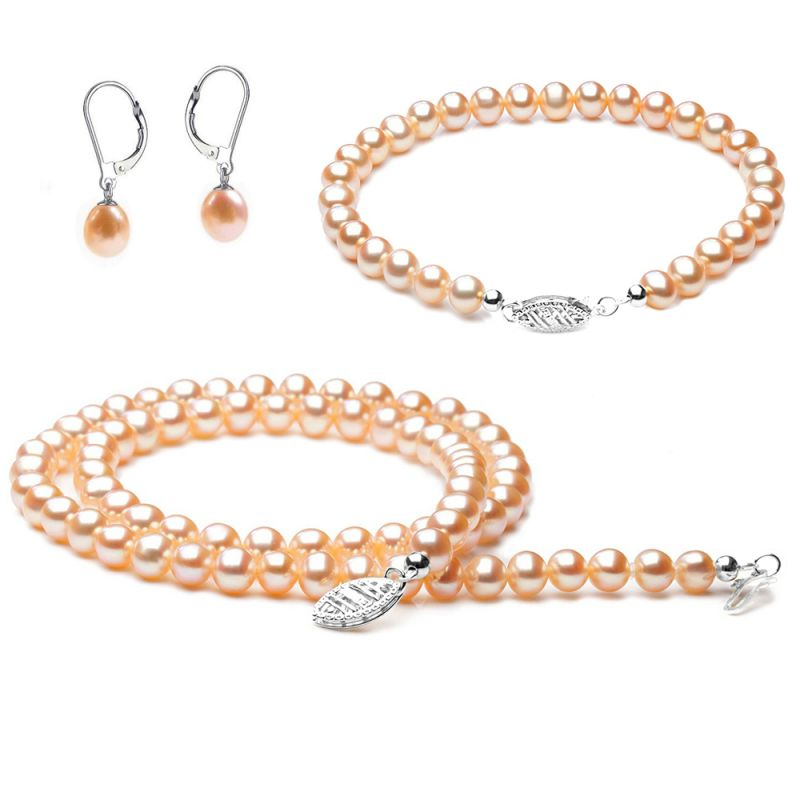 Parure bijoux rose. Perles de culture Chine. Or blanc