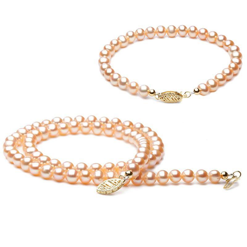 Parure bijoux rose - Perle de culture rosée - Or jaune