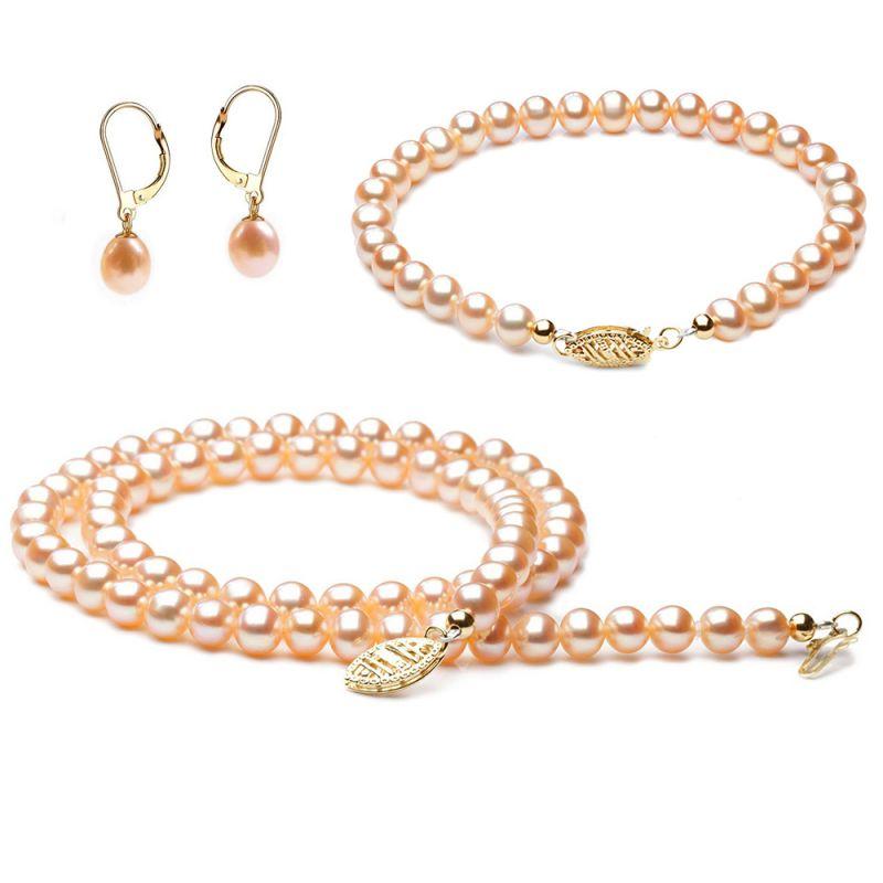 Parure perle rose. Perles eau douce rosées. Or jaune