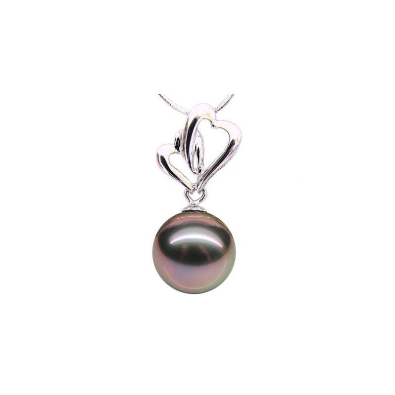 Pendentif deux coeurs fondants - Romantique - Perle Tahiti - Or blanc