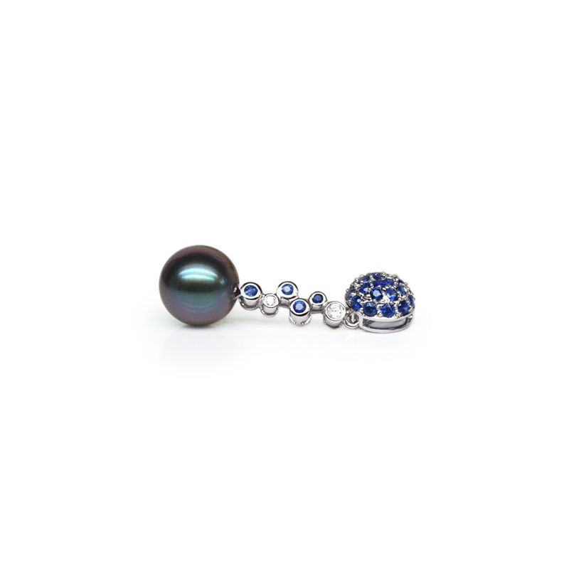 Pendentif boule de saphirs - Diamants - Perle de Tahiti, or blanc