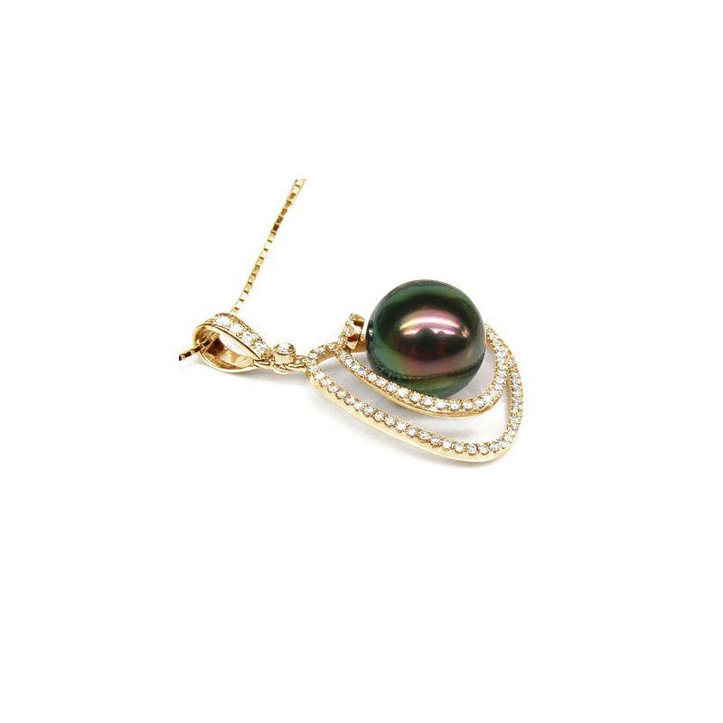 Ciondolo Miscou - Oro Giallo, Diamanti e Perla di Tahiti