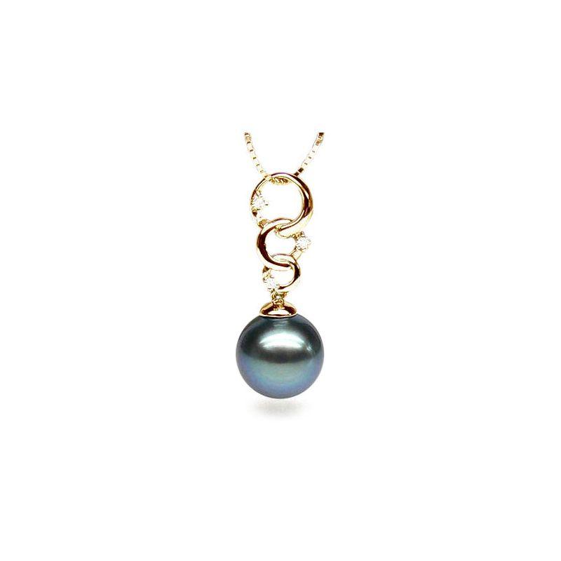 Pendentif Lemnos. 3 anneaux Perle de Tahiti. Or jaune, diamants