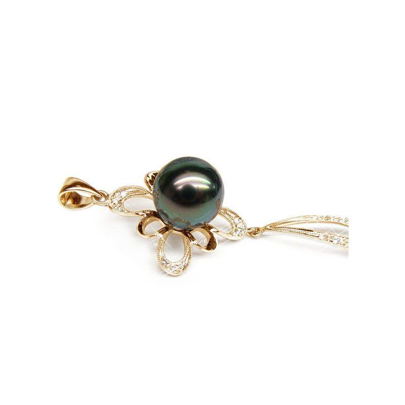 Pendentif perle de Tahiti noire - Tons bleus verts - Or jaune, diamants