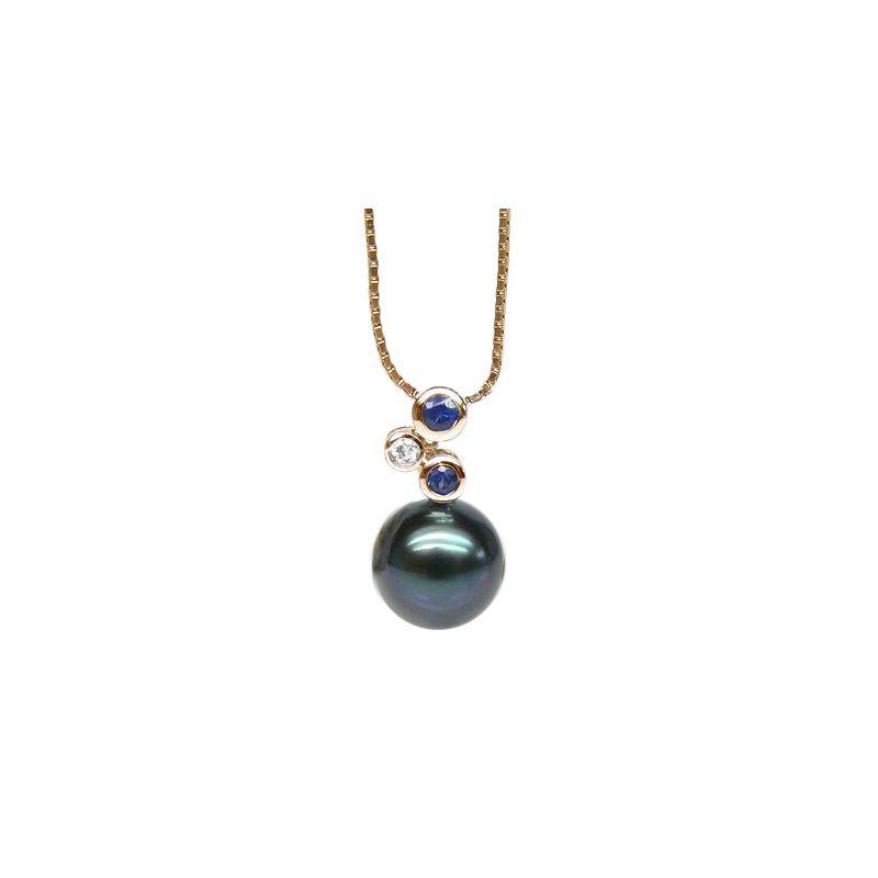 Ciondolo oro giallo, zaffiri e diamante - Perla di Tahiti nera, blu - 10/11mm