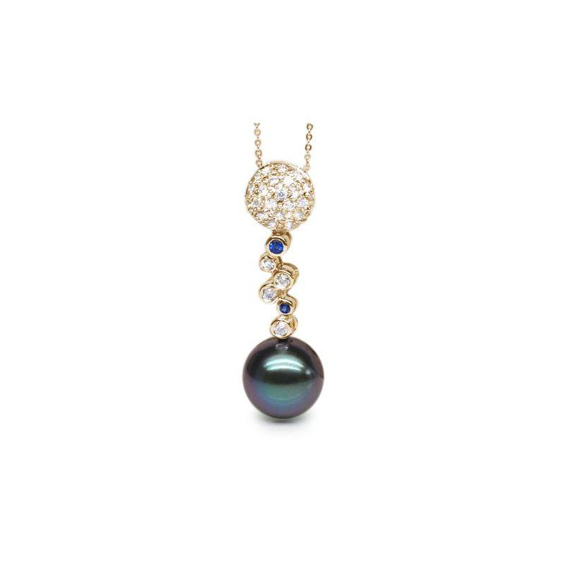Ciondolo Wallace - Oro Giallo 18kt, Zaffiri e Perla di Tahiti