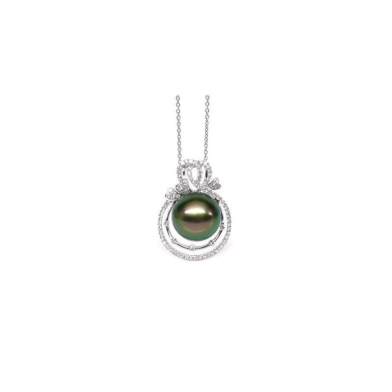 Ciondolo 3 Coeurs - Oro Bianco, Diamanti e Perla di Tahiti