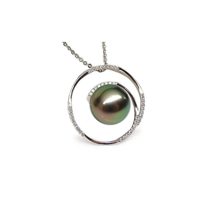 Pendentif cercle - La roue tourne - Perle de Tahiti - Or blanc, diamants