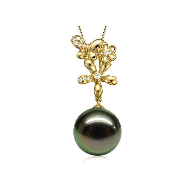 Pendentif perle de Tahiti - Vol des papillons - Or jaune, diamants