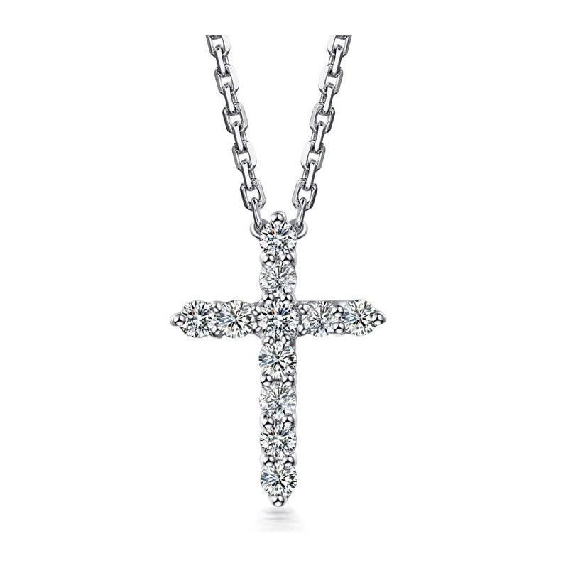 Ciondolo Croce Diamantata - Oro Bianco e Diamanti VS/G | Gemperles