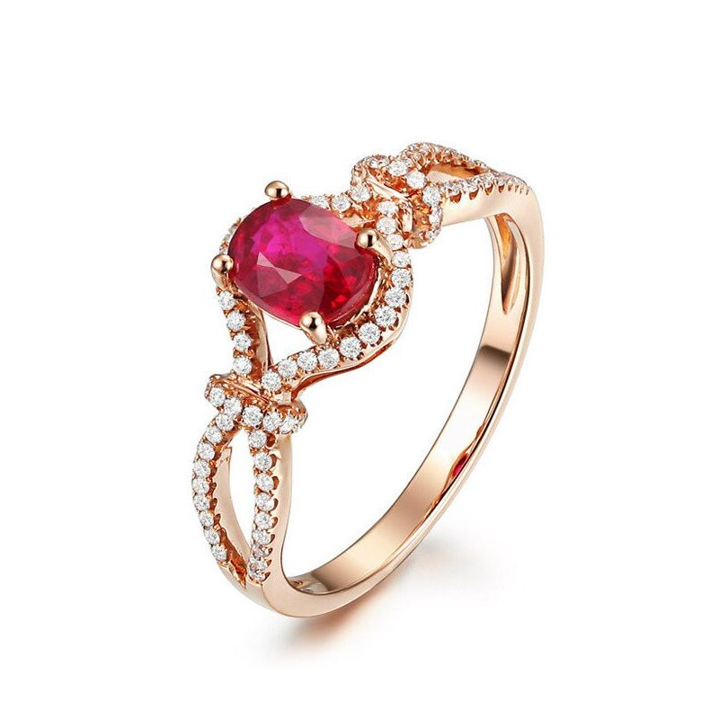 Bague rubis 1 carat or rose. Diamants sertis