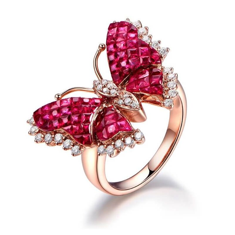 Bague Papillon argent. Rubis Birmanie, Or rose et diamants