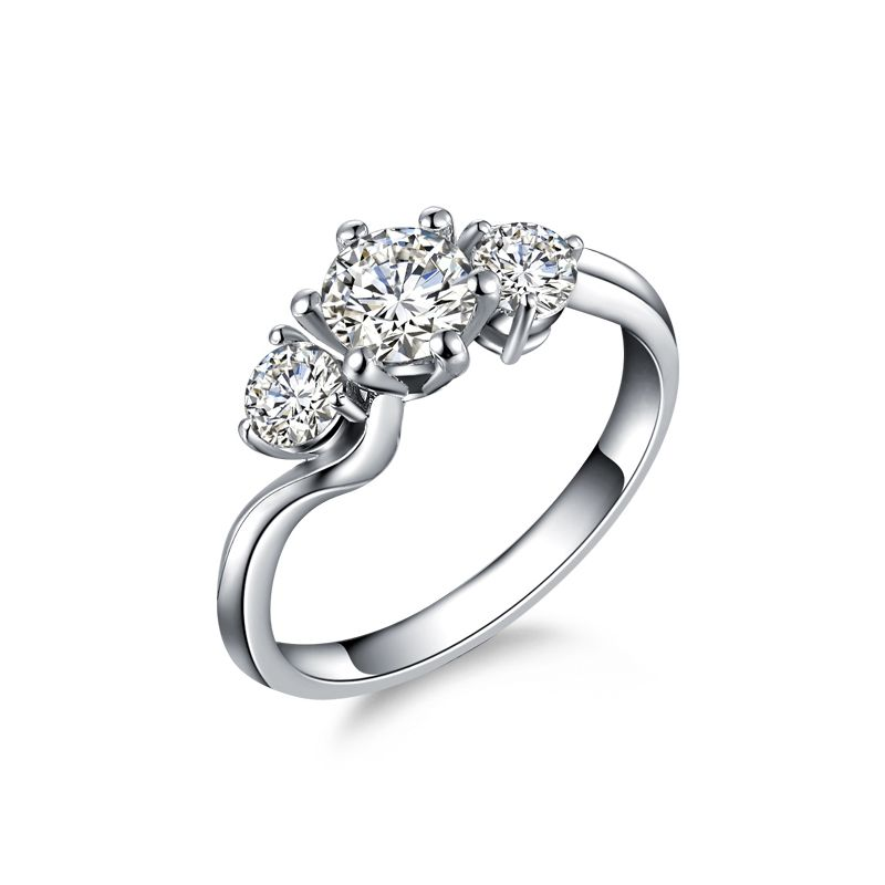 Solitaire trilogie or blanc - Bague de fiançaille 3 diamants | Trilogie