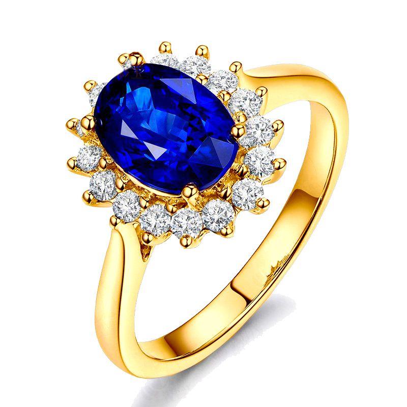 Bague Fleur de saphir, diamants Or jaune - Création florale classique