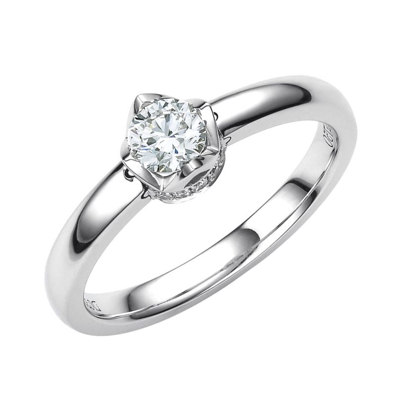 Solitaire Contemporain Or Blanc & Diamants 0.35ct - Bague Pendentif | Gemperles