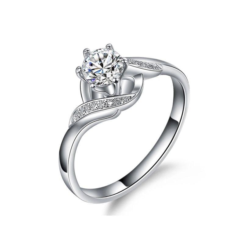 Bague Solitaire Enlacée - Bague Elliptique Or Blanc & Diamants | Gemperles