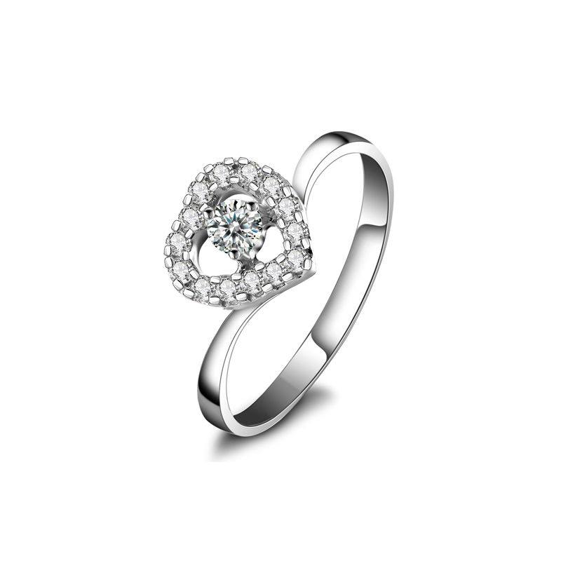 Bague de Fiancaille Coeur de Diamants - Solitaire en Or Blanc | Gemperles