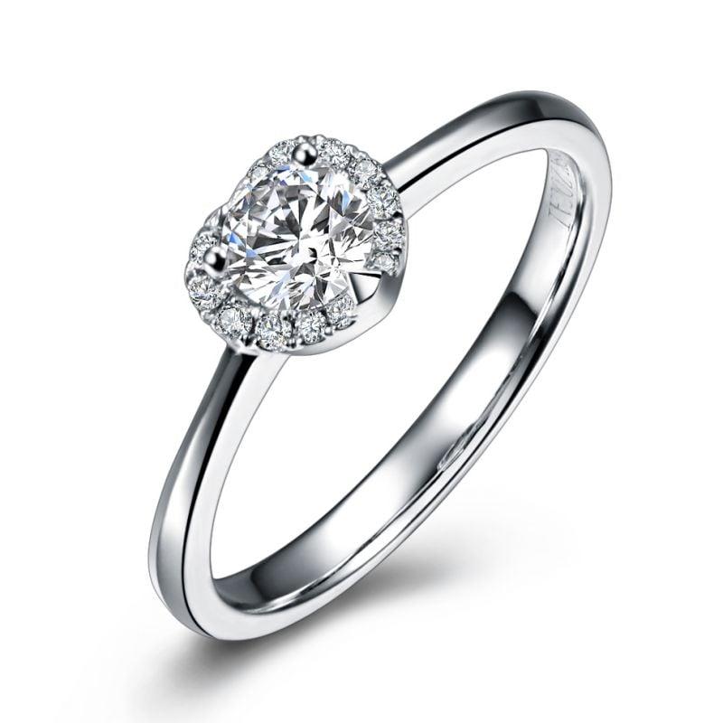Solitaire Mon Coeur de Diamant - Or Blanc & Diamants Pavés | Gemperles