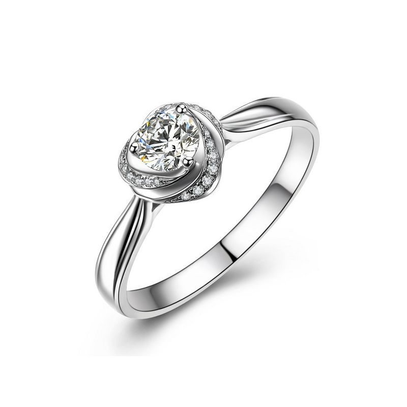 Solitaire Mon Coeur de Rose - Bague Or Blanc & Diamants | Gemperles