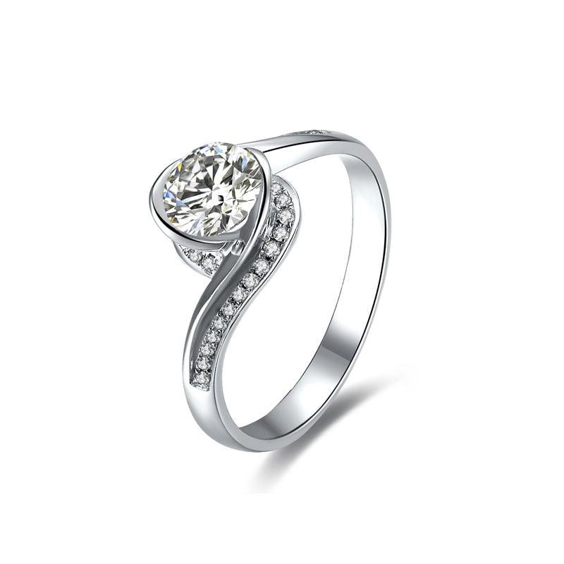Bague Solitaire Or Blanc, Diamants 0.42ct - Baudelaire, A une Madone | Gemperles