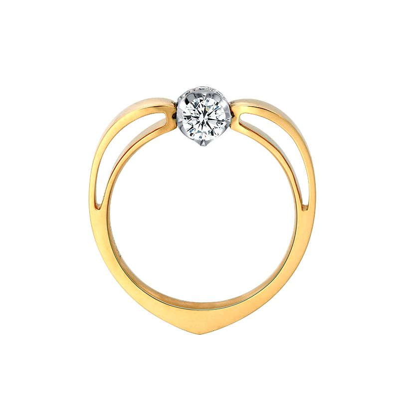 Solitaire Anneau Bombé - Or Blanc & Jaune - Couronne Diamants | Gemperles