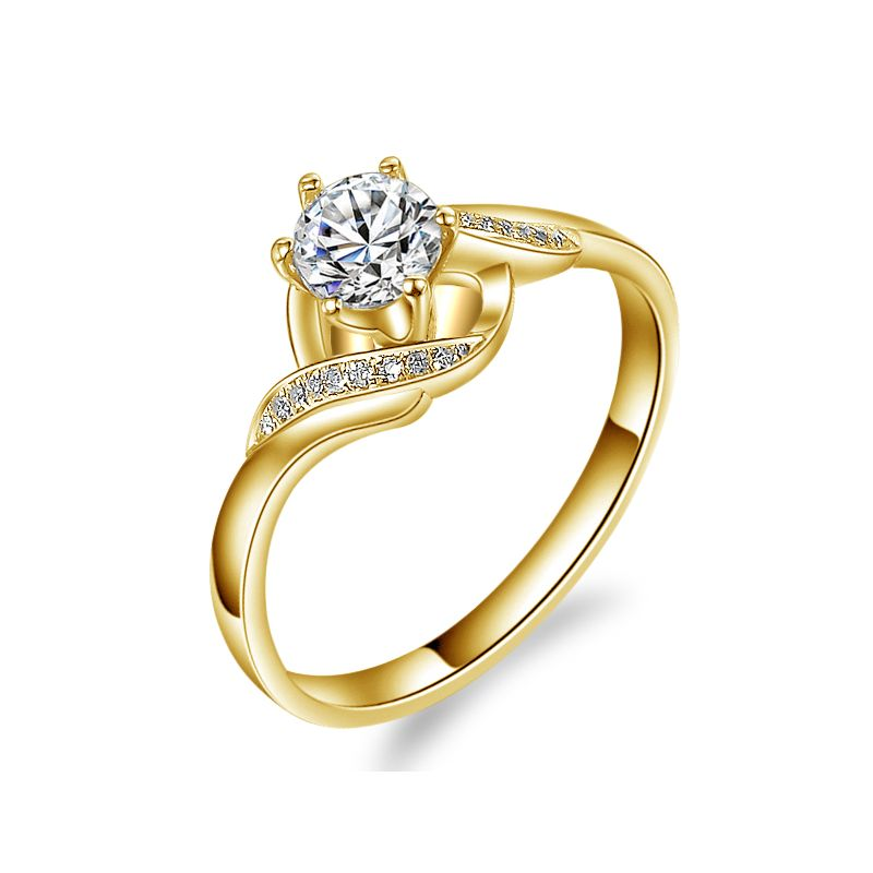 Bague Solitaire Enlacée - Bague Elliptique Or Jaune & Diamants | Gemperles