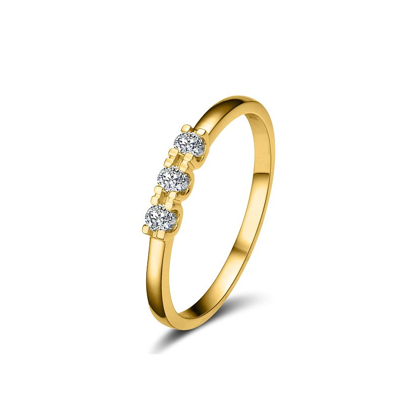 Bague trilogie moderne - Diamants 0.12ct, or jaune 18cts