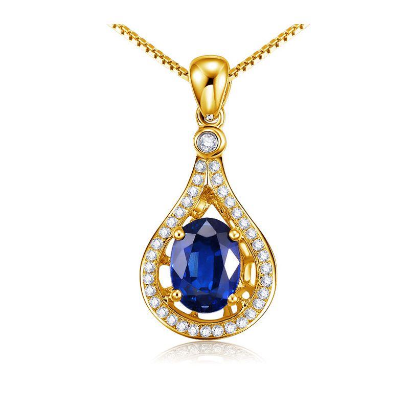 Saphir et diamant sur Or jaune - Pendentif oval