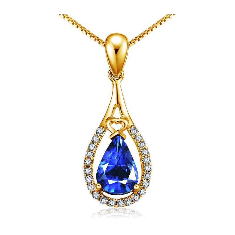 Pendentif goutte Or jaune 18 carats - Saphir et diamants