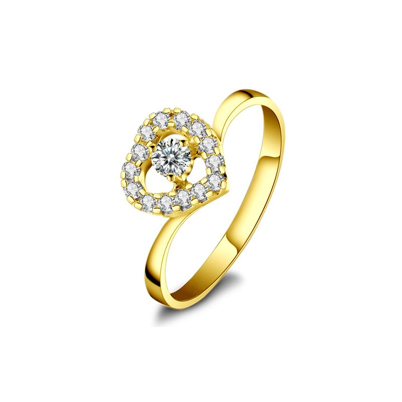 Coeur Diamanté - Solitaire Bague en Diamants et Or Jaune | Gemperles
