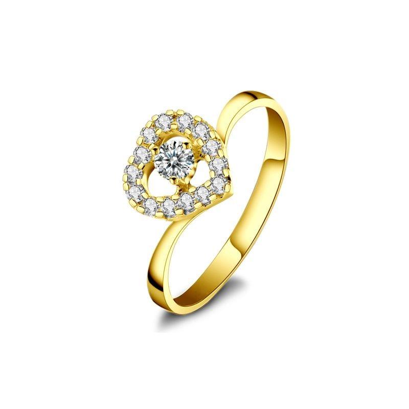 Anello di Fidanzamento Cuore di Diamanti - Oro Giallo & Solitario Composto | Gemperles