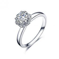 Solitaire Captivante Renoncule - Bague Diamanté & Or Blanc