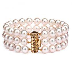 Bracelet 3 rangs de perles Akoya Japon