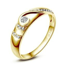 Alliance femme or jaune diamant solitaire