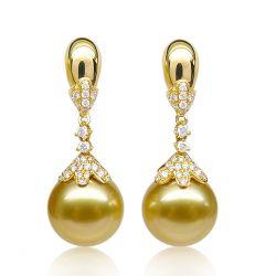 Boucle oreille perles des mers du sud dorées