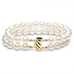 Bracelet perles blanches 2 rangs fermoir or jaune