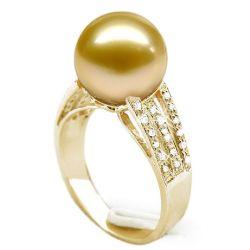 Bague or jaune et perle d'australie dorée